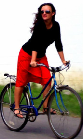 red a-line skirt bicyle
