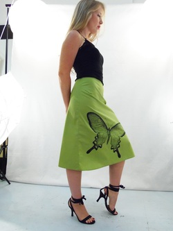 Butterfly on Green A-Line Skirt
