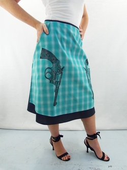 Guns on Turquoise Plaid Half Apron