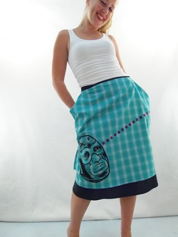 Lucha Libre on Turquoise Plaid Half Apron