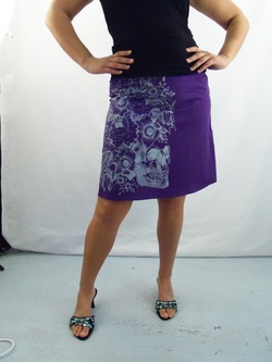 Silver Skull in Bloom on Purple cotton a-line skirt
