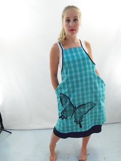 Butterfly on Turquoise Plaid Full Apron
