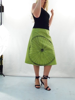 Bicycle on Green A-Line Skirt