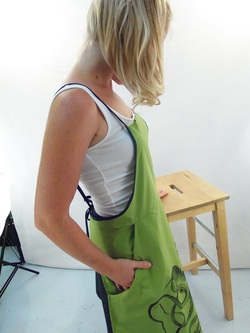 Side Detail of Green Full Apron