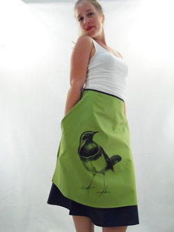 Bird on Green Half Apron