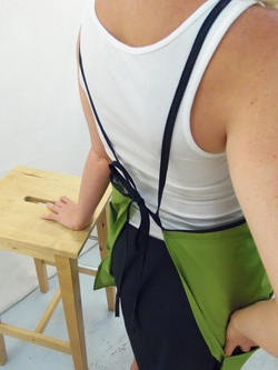 Back Detail of Green Full Apron